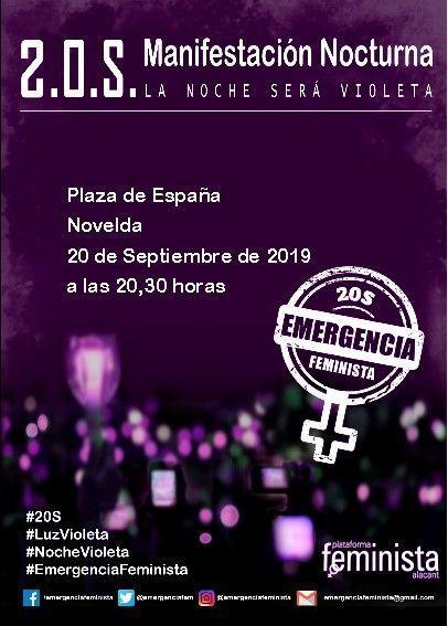 Ayuntamiento de Novelda cartel-noche-violeta Manifestación Nocturna La Noche será Violeta