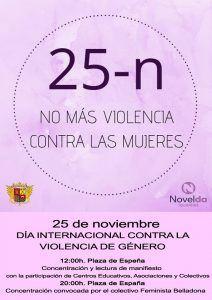 """Ayuntamiento de Novelda Cartel-Igualdad-212x300 Día Internacional contra la Violencia de Género """"No más violencia contra las mujeres"""""""