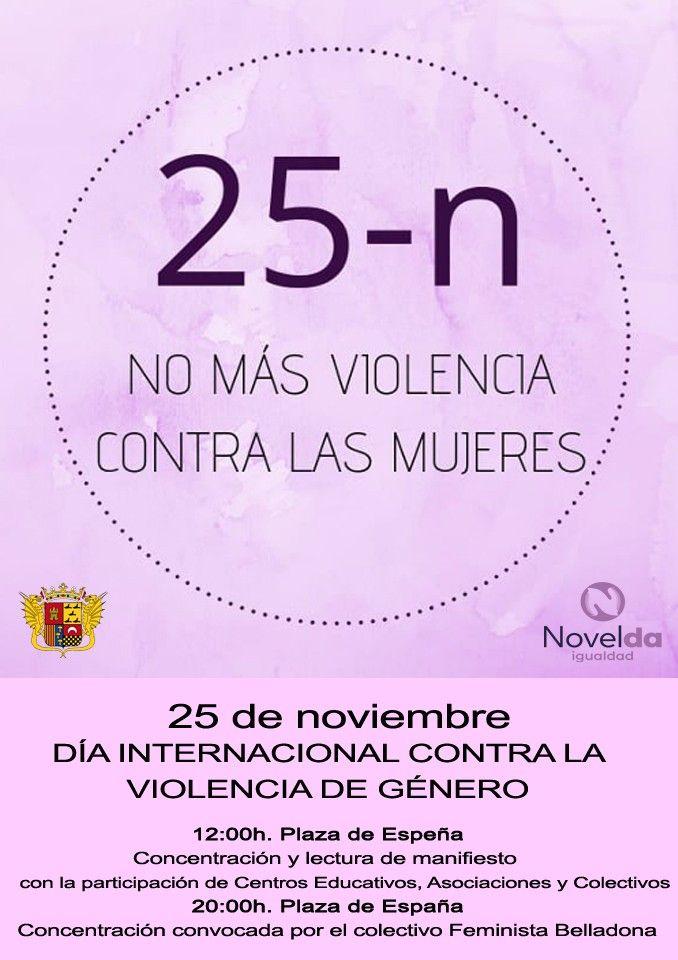"""Ayuntamiento de Novelda Cartel-Igualdad Día Internacional contra la Violencia de Género """"No más violencia contra las mujeres"""""""