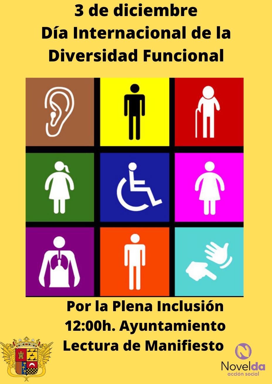 Ayuntamiento de Novelda cartel-diversidad Día Internacional de la Diversidad Funcional