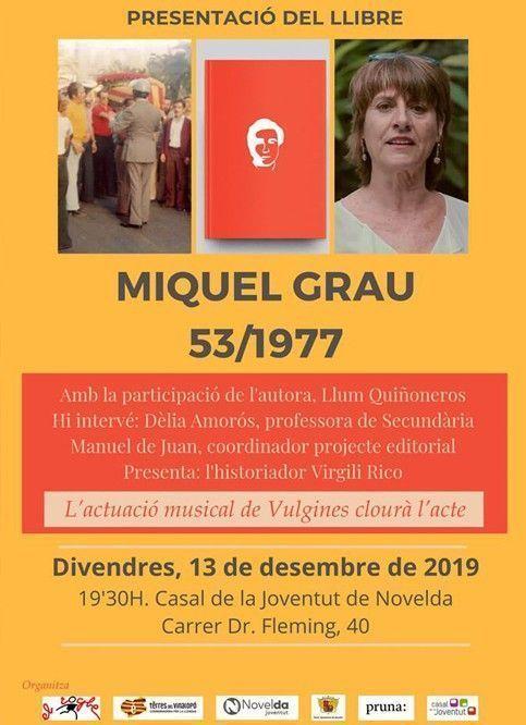 """Ayuntamiento de Novelda Libro-Grau-web Presentación del libro """"Miquel Grau 53/1977"""""""