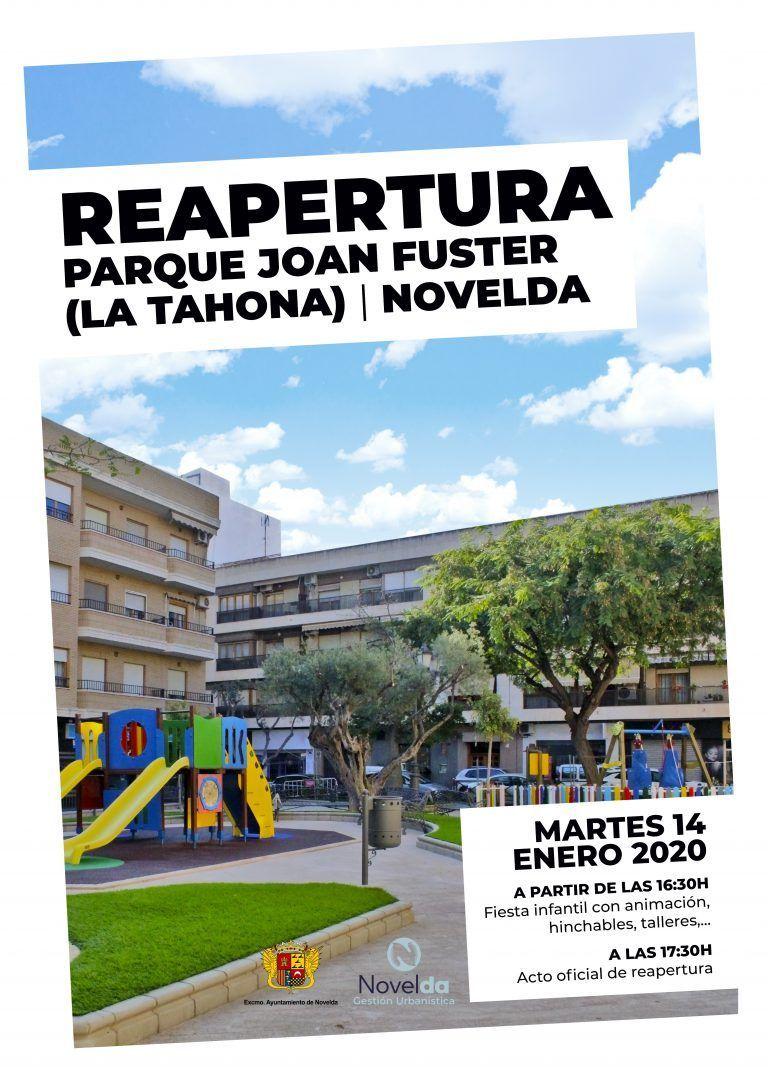 Ayuntamiento de Novelda Cartel-Parque-Joan-Fuster Reobertura Parc Joan Fuster (La Tahona)