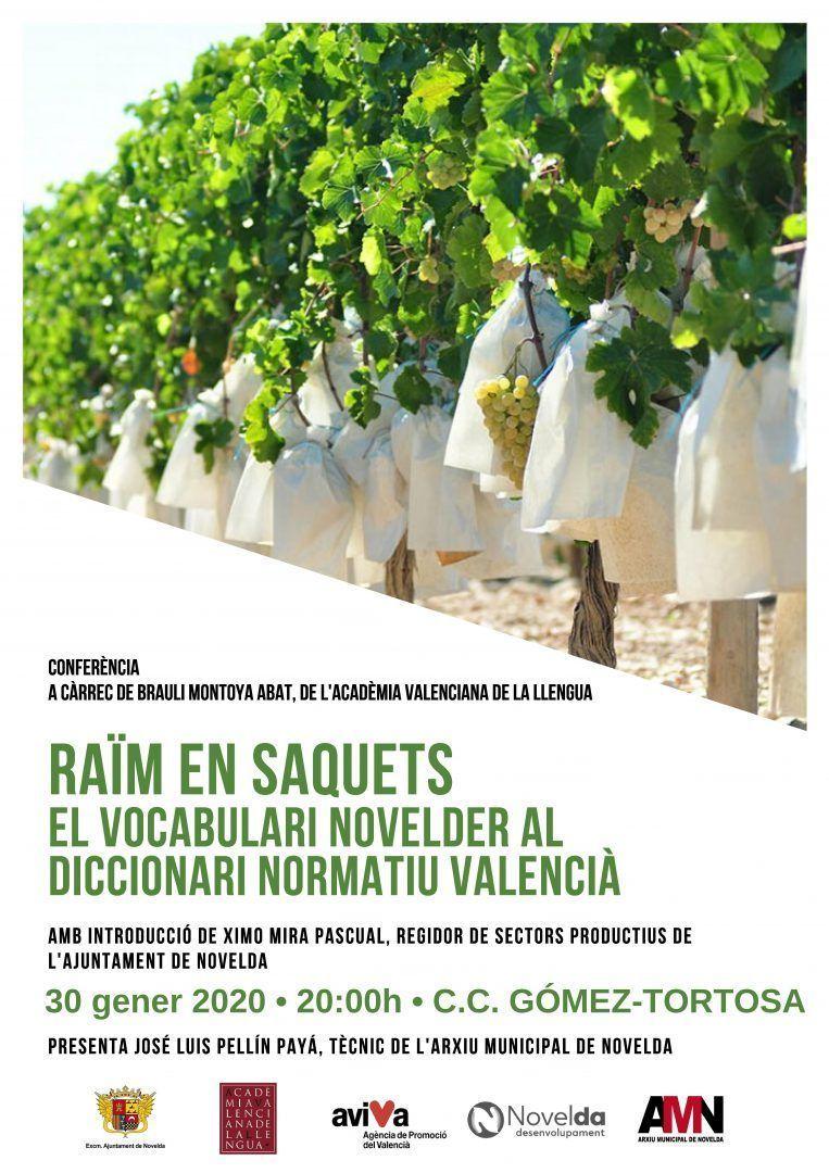 """Ayuntamiento de Novelda Cartell-raim-taula Conferencia """"Raïm en saquets, el vocabulari novelder al diccionari normatiu Valencià"""""""