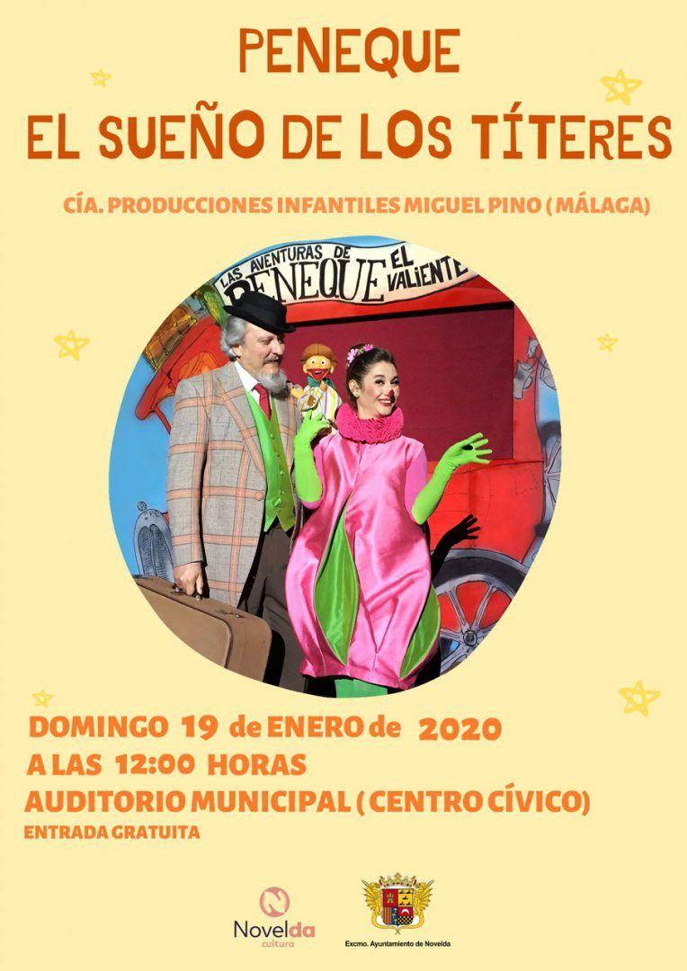 """Ayuntamiento de Novelda PENEQUE-19-01-2020 Teatro Infantil """"Peneque, el sueño de los Títeres"""""""