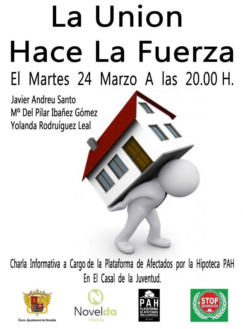 Ayuntamiento de Novelda Cartel-Afectados-Hipoteca Charla Informativa Plataforma de Afectados por la Hipoteca