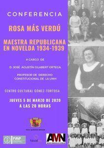 """Ayuntamiento de Novelda Conferencia-Maestra-212x300 Conferència """"Rosa Más Verdú: Mestra Republicana a Novelda 1936-1939"""