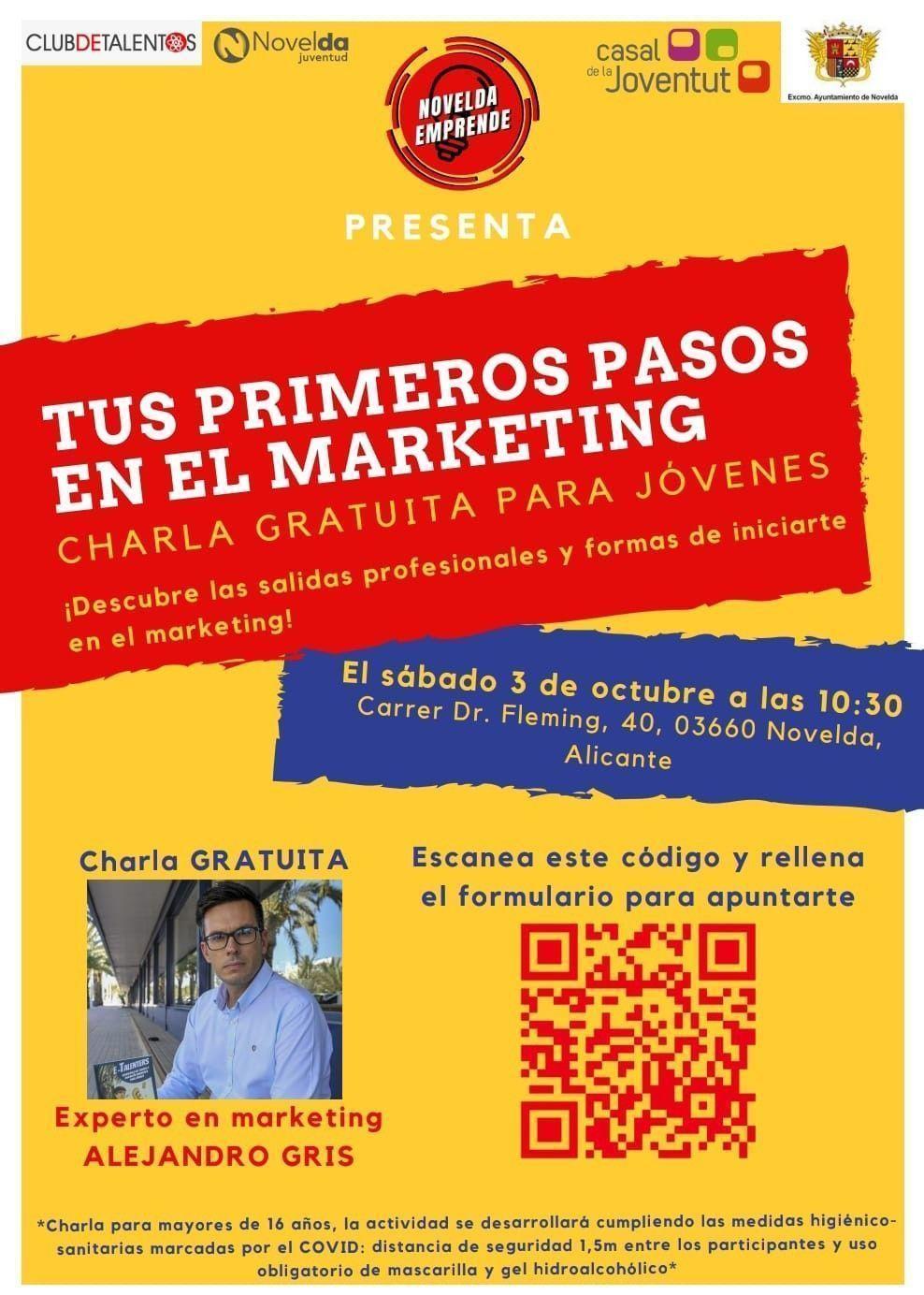 """Ayuntamiento de Novelda Charla-Marketing Charla """"Tus primeros pasos en el marketing"""""""